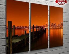 3 Panel New York Manhattan Orange Sky Cityscape Pictures For Your Living Room Bedroom Wall Art Print - Completely Framed
