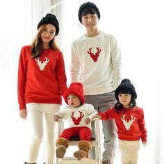 Casual Cartoon Pattern Long Sleeve Christmas Family Matching Sweatshirts b606d18ec