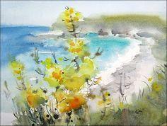 California Coast Watercolor by Maria Stezhko