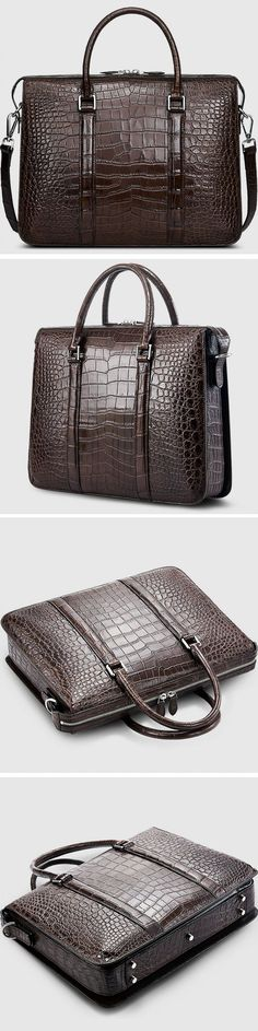 Alligator Bag, Luxury Alligator Business Briefcase for Men