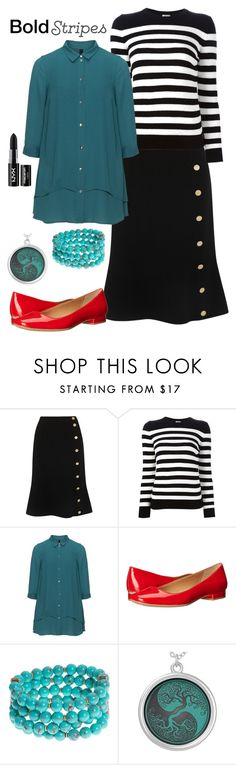 """Bold Stripes"" by lunar-exorcism ❤ liked on Polyvore featuring Altuzarra, Yves Saint Laurent, Manon Baptiste, Calvin Klein, Lonna & Lilly, NYX and BoldStripes"