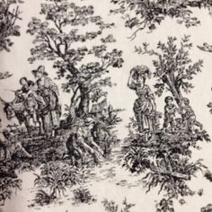 Black and White Toile fabric by ShopMyFabrics on Etsy