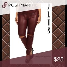 "Burgundy slit knee faux leather pants plus sz High waist. I ❤️ these. I kept a pair for myself. 92% polyester, 8% spandex. Very nice material.. Surprisingly comfortable. Some stretch but won't sag. I love them so much I kept a pair for myself.  These run a little small. 1x = 16"" unstretched hips, inseam 29""', 2x = 18"", inseam 29"". Fashionomcs brand. Label will say 1x. Go by the measurements listed. Good quality. Burgundy. Host Pick best of PLUS 1/28 Pants Leggings"