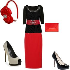 red outfit, created by mellie0807 on Polyvore