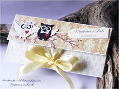Wedding envelope card with owls from Teo
