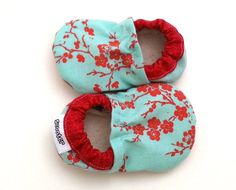 cherry blossom baby, baby girl shoes, red and aqua, asian baby shoes, cherry blossom booties, soft sole shoes, vegan baby shoes for girl by ScooterBooties on Etsy https://www.etsy.com/listing/181432327/cherry-blossom-baby-baby-girl-shoes-red