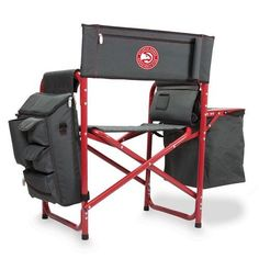 Atlanta Hawks Fusion Portable Outdoor Chair w/Digital Print - Grey/Red