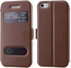 Boilfish,iPhone 5s,5,S-View Series,Slim Style,Stand,Folio Flip Cover Case,Brown