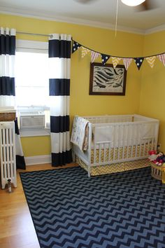 Curtains are going to be similar- DIY, white with two or so painted navy stripes towards the bottom. DIY Modern Nautical Nursery