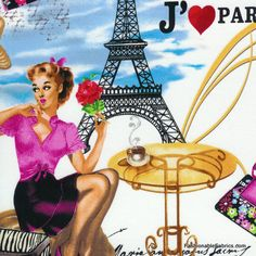 Fabric... I Love Paris in multi by Timeless Treasures