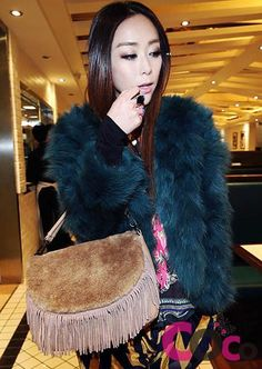 Beige Semicircular Shape Beige Bag with Fringes and Fur Imitation