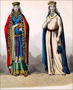 French queens costumes in the 11th Century.
