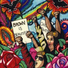 Us Seller - Latino art chicano brown is beautiful paper poster home accent wall Chicano Studies, Art Chicano, Chicano Love, Chicano Art Movement, Mexican American, American Pride, American History, Art Latino, Latino Artists
