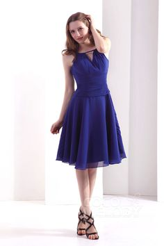 Simple A Line Spaghetti Strap Knee Length Chiffon Sodalite Blue Bridesmaid Dress COZK13011Cocomelody#cocktaildress#homecomingdress#