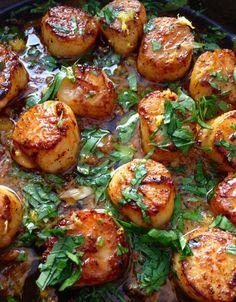 Garlic Scallops Garlic Scallops Recipe, a healthy quick recipe for the best pan seared garlic scallops in butter ghee garlic sauce with a hint of fresh lemon & parsley !Garlic Scallops Recipe, a healthy quick recipe for the best pan seared garlic scallops Fish Recipes, Seafood Recipes, Dinner Recipes, Cooking Recipes, Healthy Recipes, Healthy Scallop Recipes, Clam Recipes, Best Scallop Recipe, Pureed Recipes