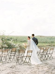 ceremonies with bistro chairs - photo by Be Light Photography http://ruffledblog.com/coastal-oregon-inspiration-with-a-show-stopping-wedding-gown