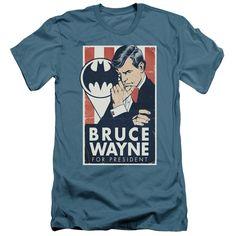 Batman/Wayne For President Short Sleeve Adult T-Shirt 30/1 in Slate