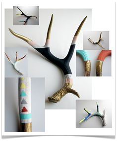 love the main color blocked antler.  I want to do this to hang my jewelry!