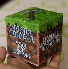 Minecraft Birthday Party Ideas: 3D Birthday Invitation
