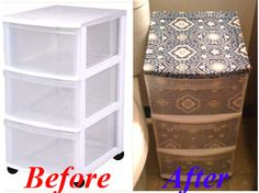 What a cute idea for sprucing up plain old plastic drawers! Cute stuff all over this site !