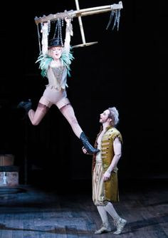 he First Fairy (Nancy Anderson) talks with Puck (Adam Green).