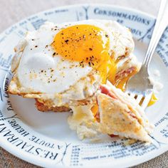 Croque-Madame ---> grilled ham and cheese on sourdough, topped with Mornay sauce, cheese and a sunny side-up egg! #brunch