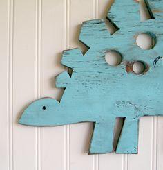 Stegosauras Sign Dinosaur Wall Art  Sign Kids Children's Room Decor. $55.00, via Etsy.