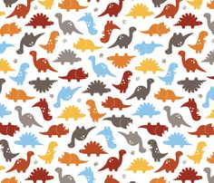 OK, this is the new favorite since A likes it, too. Also has a matching gray dinosaur tracks fabric. Dino Cuteness combed cotton fabric by jenimp on Spoonflower - custom fabric