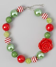 Take a look at this Mint & Pink Stripe Rose Bead Necklace by Whitney Elizabeth on #zulily today!