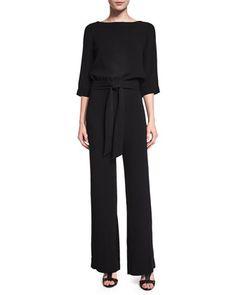 Gwynne 3/4-Sleeve Crepe Jumpsuit, Black by Diane von Furstenberg at Neiman Marcus.