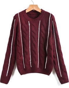 Wine Red Vertical Stripe Cable Knit Sweater 21.67