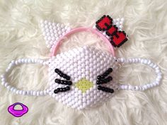Hello Kitty Mask and Ears Kandi Set Kitten Cat Mask Kandi Cat Ears Hello Kitty Ears Red Hello Kitty Bow EDM Rave Gear Rave Wear EDC