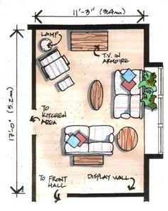 Angled furniture arrangements works best in narrow room in - Narrow living room furniture layout ...