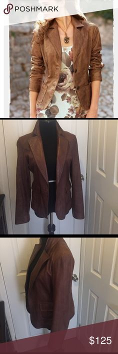 Brown leather jacket 100% leather jacket.  Brown distressed look. Two bottoms came off but I still have them.  Only serious inquiries please. Jackets & Coats Blazers