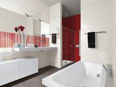 Chcete elegantní a zároveň veselou koupelnu či kuchyň? Spojit tyto dva požadavky přesně dokáže série obkladů Cloud. Vybírat můžete ze 6 barevných odstínů obkladů a ještě více dekorů. #keramikasoukup #koupelnyodsoukupa #seriecloud #inspirace #inspiracekoupelny Red Tiles, Deco, Stoneware, Bathtub, Clouds, Interior Design, Bathroom, Home, Point Of Sale