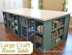 Large craft room table - like that there is room for several.