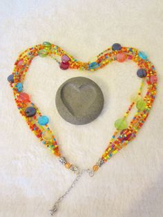 Vintage Seed Bead Necklace-6 Strings. by NowAndThenConnection