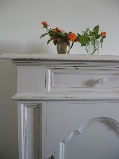 shabby chic furniture - i love orange and pink roses together     Here in Italy I paint lots of Shabby Chic furniture pieces, here we m...