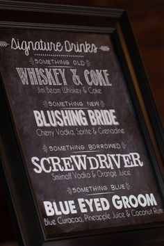 bar menu | White Dress Events