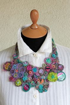 Statement bib necklace knitted with bamboo textile by rRradionica, $93.00