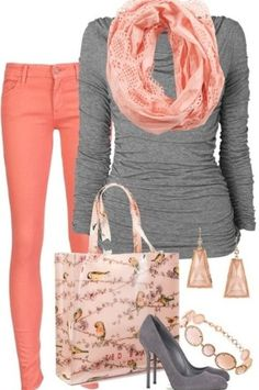 Coral outfit! i like the combination of the coral and gray.