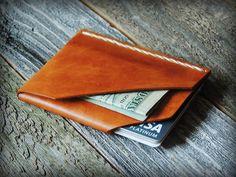 Mens Custom Leather Wallet - Leather Card Wallet - Card Holder - Husband Gift…