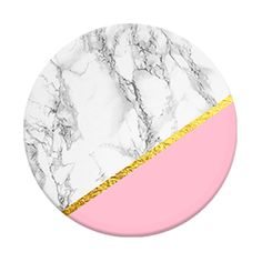 "Marble Chic PopSocket | A chic marble print is accented with blush pink and gold lines. PopSockets offer a secure grip for texting or snapping the perfect selfie, and propping your phone up for catching the latest video. Just ""pop"" & expand one whenever you need a grip or stand for those brilliant pix, videos, or posts."
