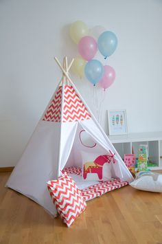 Red chevron kids teepee play tent with a padded play mat by WigiWama on Etsy