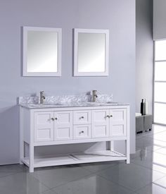 The NORWAY Bathroom Vanity Collection is one of our newest selections! The NORWAY Collection comes as a full set which includes: a Solid Oak wood framed mirror, Carrera White Marble Top, soft closing full extension drawers, soft closing doors, open shelving at the bottom, pop-up drains, flexible hoses and stainless steel handles. Additional options include the choice of Polished Chrome or Brushed Nickel faucet