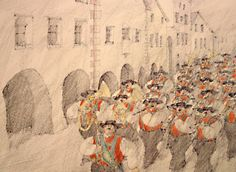Paul Flora -Musik in der Laubengasse Austria, Vintage World Maps, Flora, Drawings, Artist, Painting, Musik, Artists, Painting Art