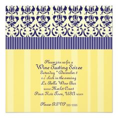 Elegant and classic blue and yellow damask invitations.
