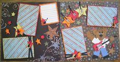 ROCK STAR  Tear Bear Double Page Scrapbook Layout by Scrapsomnia, $14.00 Diy Scrapbook, Scrapbooking Layouts, Kindergarten Rocks, Sketch Books, Diy Cards, Sketches, Paper Crafts, Bear, Handmade Gifts