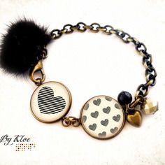 Bracelet cabochons • cœur rayé • nœud rayures noir beige verre