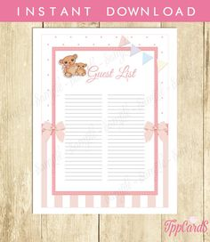 Teddy Bear Baby Shower Guest List Baby Shower List Baby Shower Sign in Sheet Guest List in Light Pink and White Bear Baby List 0032A-P by TppCardS #tppcards #printable #invitations